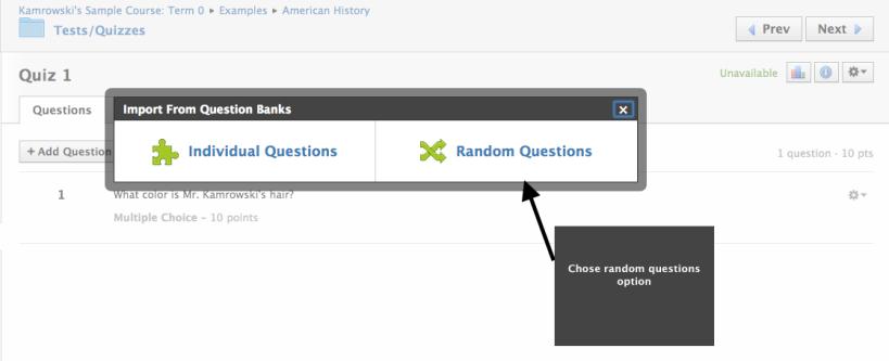 Chose random questions option